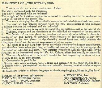 De Stijl - De Stijl Manifesto I, November 1918