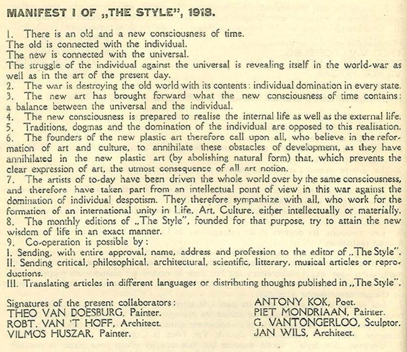Manifest I of De Stijl