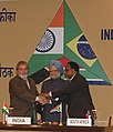 Manmohan Singh with the President of Brazil, Mr. Lula da Silva and the President of South Africa, Mr. Kgalema Motlanthe at the signing ceremony of the trilateral AgreementsMoUs, at the Third Summit of the India.jpg