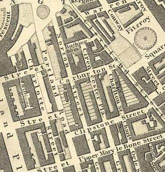 Cleveland Street, London - Cleveland Street as seen on Greenwood's map of the area in the late 1820s