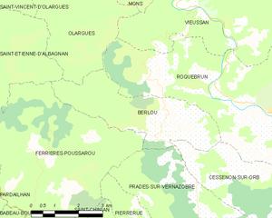 Berlou - Map