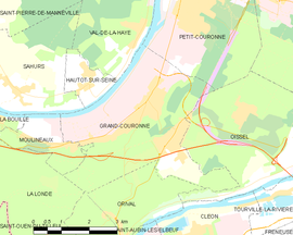 Mapa obce Grand-Couronne