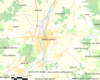 Map of the commune of Châtellerault