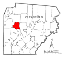Map of Clearfield County, Pennsylvania highlighting Bloom Township