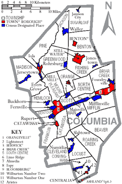 Map of Columbia County Pennsylvania With Municipal and Township Labels.png