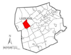 Map of Luzerne County highlighting Union Township