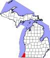 State map highlighting Berrien County