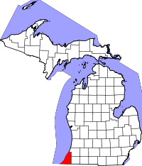 Map of Michigan highlighting Berrien County