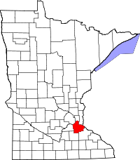 Map of Minnesota highlighting Dakota County