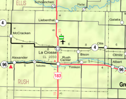 KDOT map of Rush County (legend)