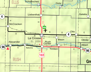McCracken, Kansas - Image: Map of Rush Co, Ks, USA