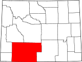 Map of Wyoming highlighting Sweetwater County.svg