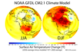 Maps of projected changes in Northern Hemisphere seasonal mean surface air temperature from the late 20th century to the mid-21st century, based on SRES emissions scenario A1B.png