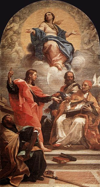 Carlo Maratta - Church Fathers discuss the Assumption of the Virgin (1686)