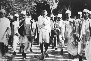 Gandhi during the Salt March, March 1930. Fran...