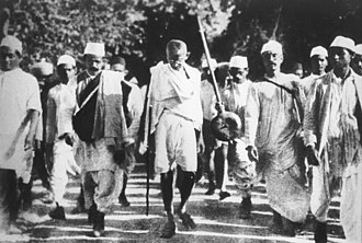 1930s - Mohandas Gandhi on the Salt March in 1930.