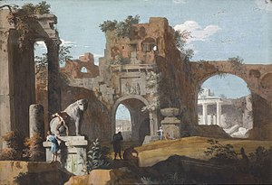 Capriccio (art) - Classical landscape with ruins, c. 1725, by Marco Ricci