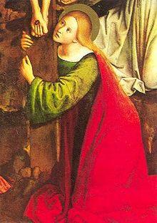 Dettaglio di Maria Maddalena in un dipinto della crocifissione