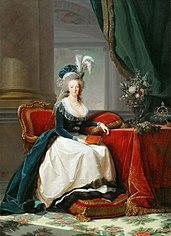 Marie-Antoinette seated, in blue coat and white dress, holding a book in her hand