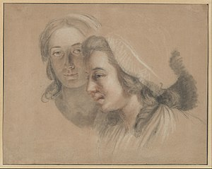Self-Portrait with Two Pupils - The early chalk study of the two students