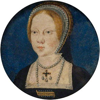 "Mary I of England - Mary at the time of her engagement to Charles V. She is wearing a rectangular brooch inscribed with ""The Emperour""."