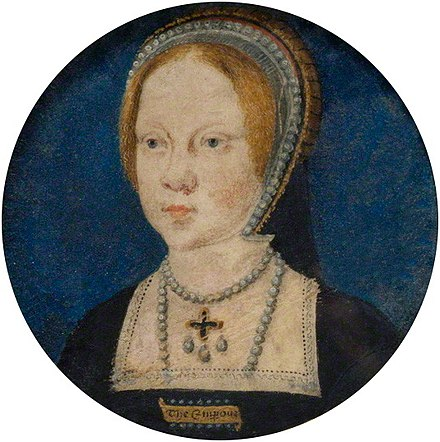 "Mary at the time of her engagement to Charles V. She is wearing a rectangular brooch inscribed with ""The Emperour"". Mary Tudor by Horenbout.jpg"