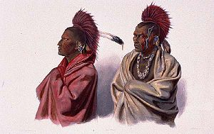 Sauk people - Massika, a Sauk Indian, left, and Wakusasse, right, of the Meskwaki. By Karl Bodmer, aquatint made at St. Louis, Missouri in March or April 1833 when Massika pleaded for the release of war chief, Blackhawk, following the Black Hawk War.