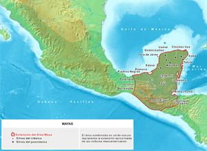 Mapa hist�rico dos territ�rios habitados por povos de l�ngua maia.