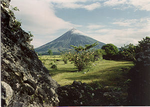 Mayon Volcano, a stratovolcano in the Philippines.