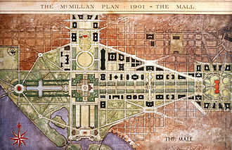 Pierre Charles L'Enfant - The National Mall was the centerpiece of the 1901 McMillan Plan. A central open vista traversed the length of the Mall.