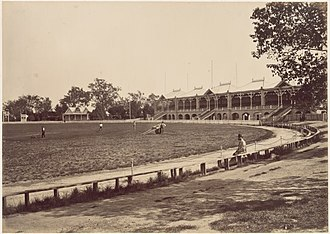 The MCG in 1878. The first Test cricket match was played at the MCG in 1877 Mcg 1878.jpg