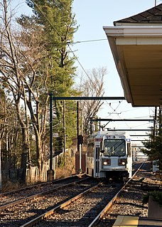 Woodland Avenue station SEPTA light rail stop in Springfield Township, Pennsylvania