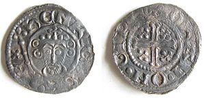 History of the English penny (1154–1485) - Silver penny of King John, 1205-1207.