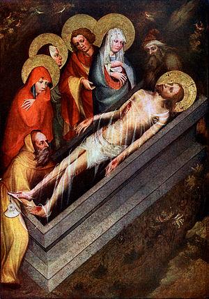 Třeboň Altarpiece - The Entombment , 135 × 93cm. Národní Galerie, Prague