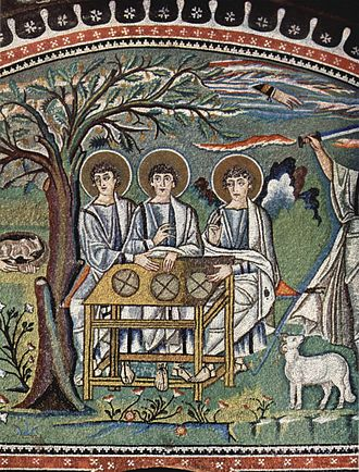 Hospitality - Mosaic at San Vitale, Ravenna, Abraham and the angels, pre-547