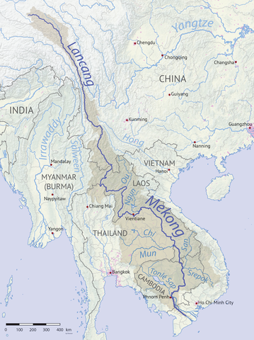 Karte vom Verlauf des Mekong