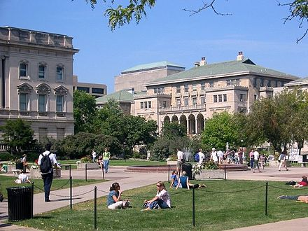 The Memorial Union as seen from the Library Mall on the UW-Madison campus Memorial Union and quadrangle.jpg