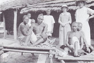 Moru people - Patients at Lui hospital in 1923, having been wounded by lions.