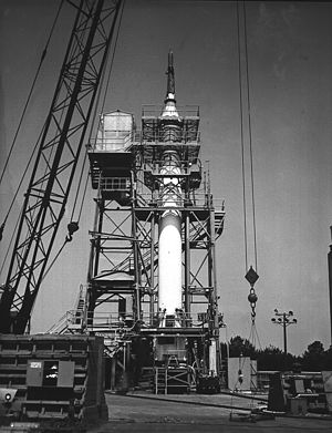 Mercury-Redstone Launch Vehicle - Image: Mercury Redstone on Redstone Test Stand MSFC 9306795