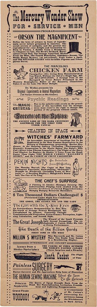 The Mercury Wonder Show - Advertising herald for The Mercury Wonder Show (August 1943)