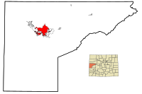 Mesa County Colorado Incorporated and Unincorporated areas Grand Junction Highlighted.svg