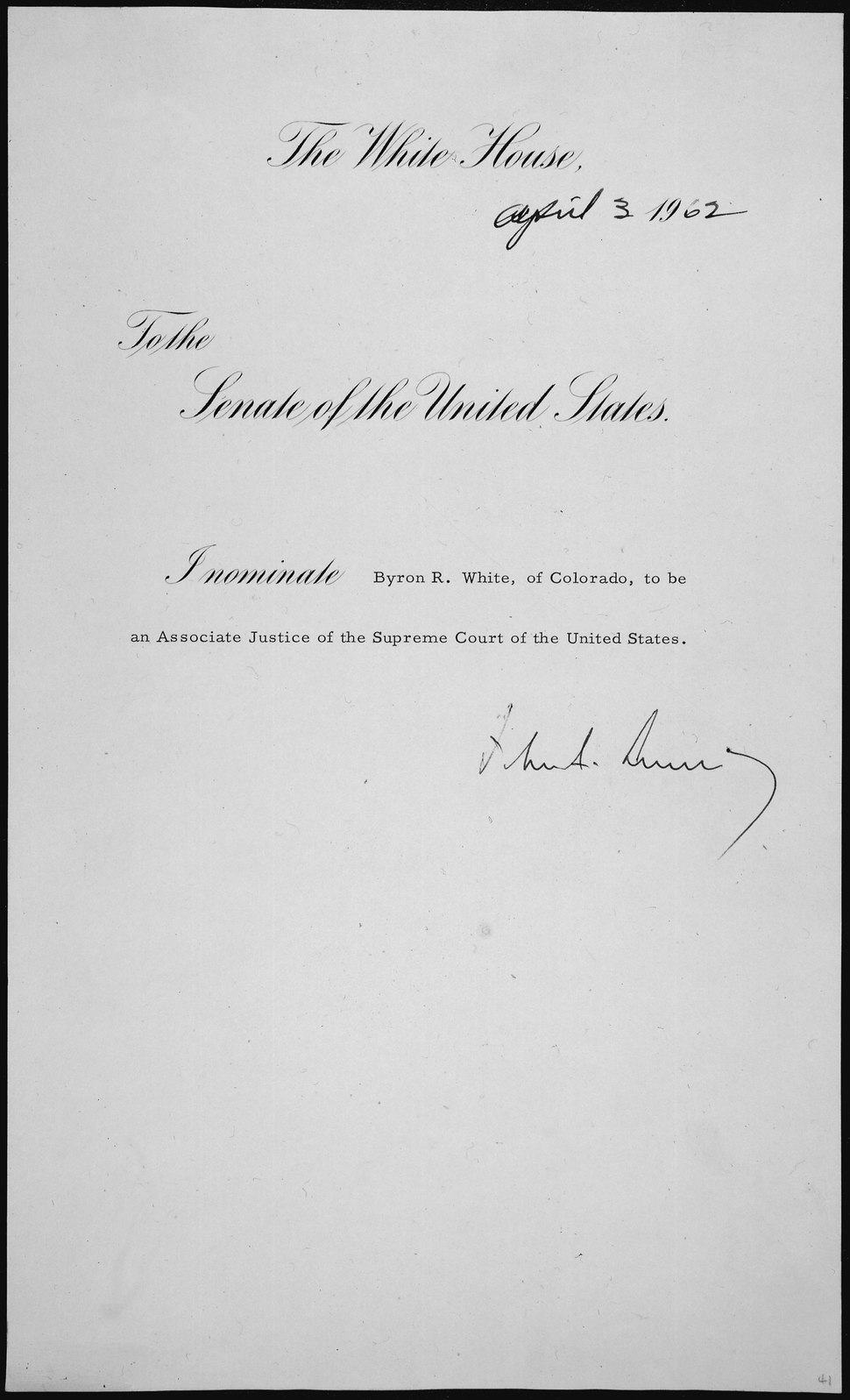 Message of President John F. Kennedy nominating Byron R. White to be an Associate Justice of the Supreme Court, 04-03-19 - NARA - 306363