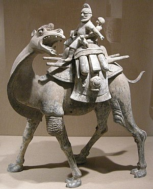 Turks in the Tang military - Camel with rider, earthenware, Tang Dynasty