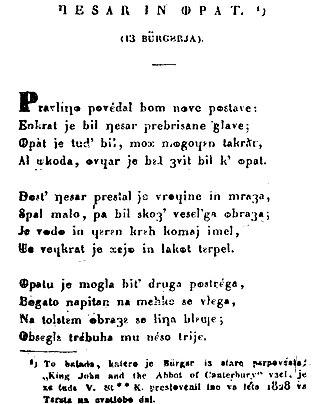 """Metelko alphabet - Example of the Metelko alphabet: Valentin Stanič's adaptation of the poem """"Der Kaiser und der Abt"""" by Gottfried August Bürger"""
