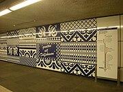 Tegelmotief in de hal van metrostation Delfshaven.