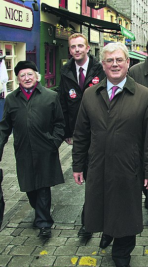 Michael D. Higgins - Higgins, Derek Nolan and Eamon Gilmore on the campaign trail, Galway 2008.