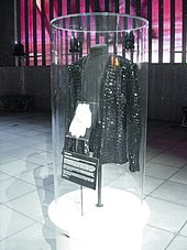 A sparkly jacket and gloves, displayed inside a transparent vertical tube.