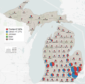 Michigan 2016 presidential results by county.png