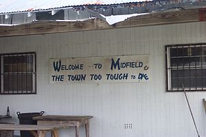 Midfield, Texas - A sign in the community of Midfield