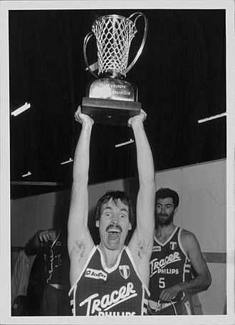1987 FIBA European Champions Cup Final - Mike D'Antoni of Tracer Milano holding the trophy